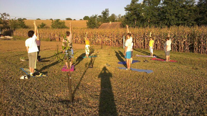 nyújtó gyakorlat Kisberényben a jóga nyári táborban